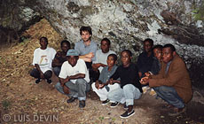 Luis Devin with a BaAka Pygmy group