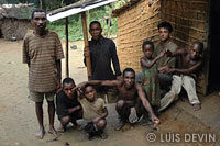 Luis Devin with Bakola-Bagyeli Pygmies in a camp