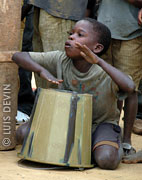 Plastic idiophone drum of the Bakoya Pygmies